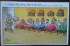 Carte postale ancienne Humour Dessin Militaire Breakfast in Bed CPA