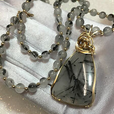 Black Tourmalated in Quartz Pendant  BEADS Necklace 14k  gold-filled
