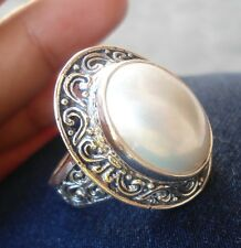 925 Sterling Silver-LL116-Balinese Hand Made White Mabe Pearl Ring Oval Size 8
