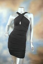 NEW GUESS JEANS black stretch bodycon keyhole clubbing cocktail party dress XS