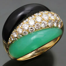 Authentic 1990s VAN CLEEF & ARPELS Diamond Chrysphrase Onyx Yellow Gold Ring