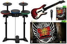 XBox 360 Guitar Hero WARRIORS OF ROCK Super Bundle Set kit drums mic game WOR