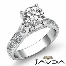 Round Pave Set Diamond Studded Women's Engagement Ring GIA F SI1 Platinum 2.95ct