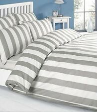 Louisiana Vertical Grey and White Stripe Duvet Cover Set Bedding 100% Cotton