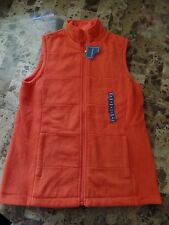 NEW ladies LANDS' END POLAR FLEECE ORANGE VEST jacket coat FALL SPRING size XS