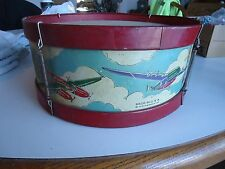 """Toy Drum tin litho Airplane warplanes Noble & cooley co vintage 12"""""""