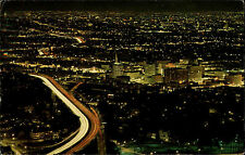 Hollywood California vintage postcard 1976 Night scene taken from Hollywood Hill