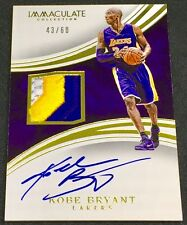 KOBE BRYANT 15-16 Panini Immaculate GOLD PRIME 3-COLOR LOGO PATCH AUTO SP #43/60