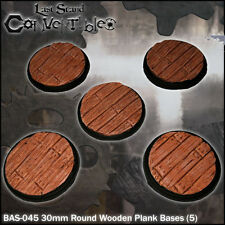 LAST STAND CONVERTIBLES BITS - 5x 30mm ROUND WOODEN PLANK BASES