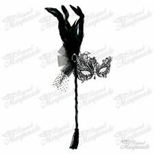 Handheld Stick Mask, Women Black Swan Metal Venetian Masquerade Mask