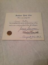 VINTAGE 1957 SOUTHERN YACHT CLUB CERTIFICATE  NEW ORLEANS LA. VERY OLD
