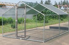 Chicken Run 10x10 ft Walk in Coop for Poultry Dog Rabbit Hen Cage Pen Metal Door