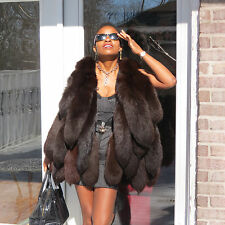 New Unique Designer dark Sable brown fox tails Fur Vest coat S-m 2-10