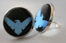 "DC COMICS NIGHTWING LOGO Glass Domed Stud 1/2"" EARRINGS"