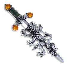 Miracle Pewter Unusual Topaz Crystal Lion Sword Kilt Pin Brooch UK Made