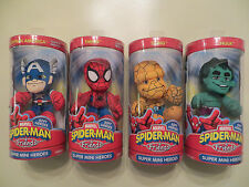 4 MARVEL SPIDERMAN & FRIENDS SUPER MINI HEROES COMPLETE SET PLUSH THING HULK