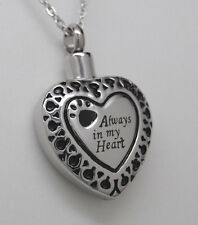 PAW CREMATION JEWELRY PAW URN NECKLACE PET URN ALWAYS IN MY HEART PENDANT URN