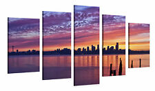 Stretched Canvas Print - SEATTLE SUNSET Large Skyline Wall Art e7058