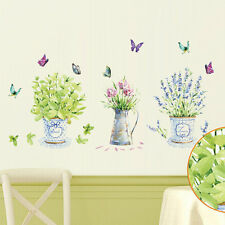 Colorful Flower Pots And Butterflies Wall Sticker Home Decor Provence Style DIY