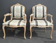 Pair Vintage French Country White Floral Stripped Accent CHAIRS