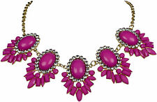 Collier cadena statement vintage Bohemian Pink cristal Necklace brillo