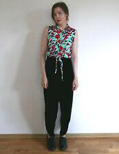 Vintage 1980s black VELVET high waist tapered glam trousers pant
