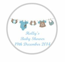 24 Personalised Baby Shower Blue Bunting Stickers Design 02