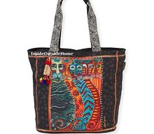 Laurel Burch Gatos Cats Large Shoulder Tote Bag MultiColor on Black New 2017
