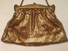 Vintage Whiting & Davis Gold Mesh Evening Hand Bag Purse Antique Flapper