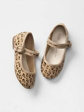 GAP Baby / Toddler Girls Size 10 US Leopard Canvas Mary Jane Ballet Flats Shoes