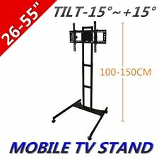 """26-55"""" LED/PLASMA/LCD TV STAND MOUNT BRACKET STURDY MOBILE TROLLEY WITH WHEELS"""