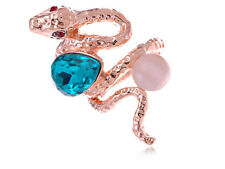 Rose Golden Tone Blue Teardrop Rhinestone Enhanced Slither Snake Statement Ring