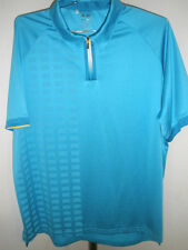 Men's Adidas Golf ClimaCool Golf Capri Blue Polo; Colored Zipper Size XL