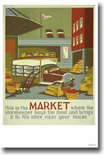 This is the Market - Vintage 1940's WPA Art Food POSTER
