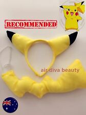Women Kid Child Pikachu Pockemon Costume Ear tail Party Hair head band Prop set
