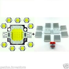 10 Pcs 10W Led Cool White With Mini Heat Sink 900-1100lm Light Dc 9~12 Volt