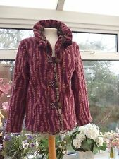 MANILU ITALY QUIRKY BURGUNDY/PINK TWEED & LACE TRIM BOILED VIRGIN WOOL JACKET XL