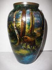 Antique Limoges enamel copper vase Jules Sarlandie (1874-1936) landscape w/ deer