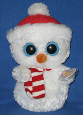 "TY BEANIE BOOS BUDDY SIZE - SCOOPS the SNOWMAN - MINT TAGS 10"" PLEASE READ"