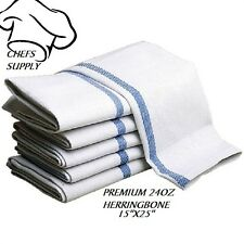 60 HERRINGBONE BLUE STRIPED 100% COTTON DISH TOWELS LINT FREE BARBER CHEFS BRAND