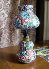 "VINTAGE MURANO ITALY MURRINE MILLEFIORI GLASS OIL LAMP K&B Hand Blown 11"" MINT"