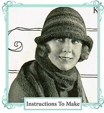 Vintage 1920s knitting pattern-Downton Abbey era striped flapper hat to make