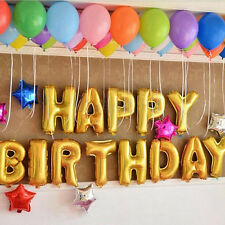 """13pcs """"HAPPY BIRTHDAY"""" Letters Golden Foil Balloons For Birthday Decor Party New"""