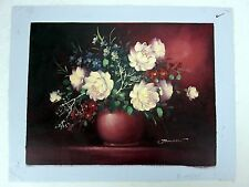Johnson Oil Impasto on Canvas Botanical Painting White Rose Bouquet in Vase