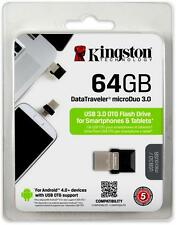 New Kingston DataTraveler DT microDuo 64GB 64G 64 G USB 3.0 70MB/s Flash Drive