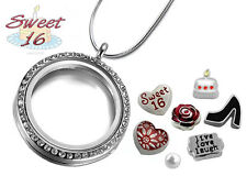 SWEET 16 Sixteen CRYSTAL Memory Locket Key Chain Set, Birthday Floating Charms