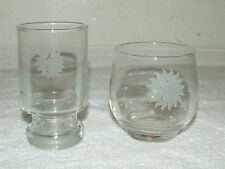 Vintage 1960's NATIONAL AIRLINES First Class Bar Service Etched Cocktail Glasses