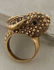 NIP Anthropologie ALKEMIE Art Deco Roaming Rabbit Ring 7 HANDMADE Unusual Artsy