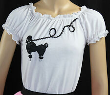 White Peasant Blouse with Poodle _ Girl Size Large (11-13) (One-Size-Fits-All)
