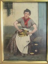 19th Century Girl Continental Oil On Canvas. Belgium Artist Guillaume Lauters